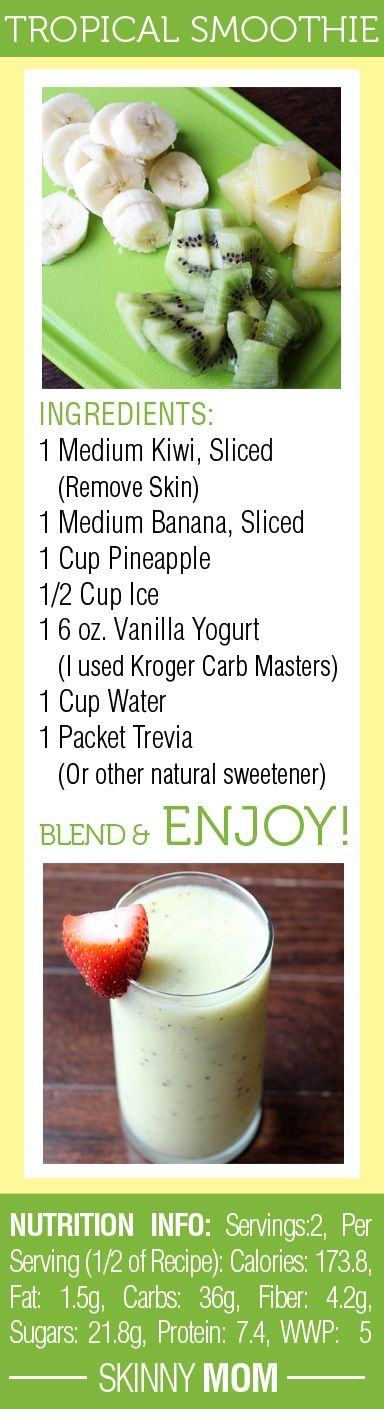 DELICIOUS Skinny Tropical Fruit Smoothie! Great for a quick breakfast on the go or a snack mid-day! #totalbodytransformation