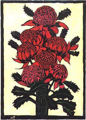 Waratahs, 1925, by Margaret Preston (aka Margaret Rose Macpherson), painter, printmaker and ceramist (Australia, 1875–1963). Hand-coloured woodcut