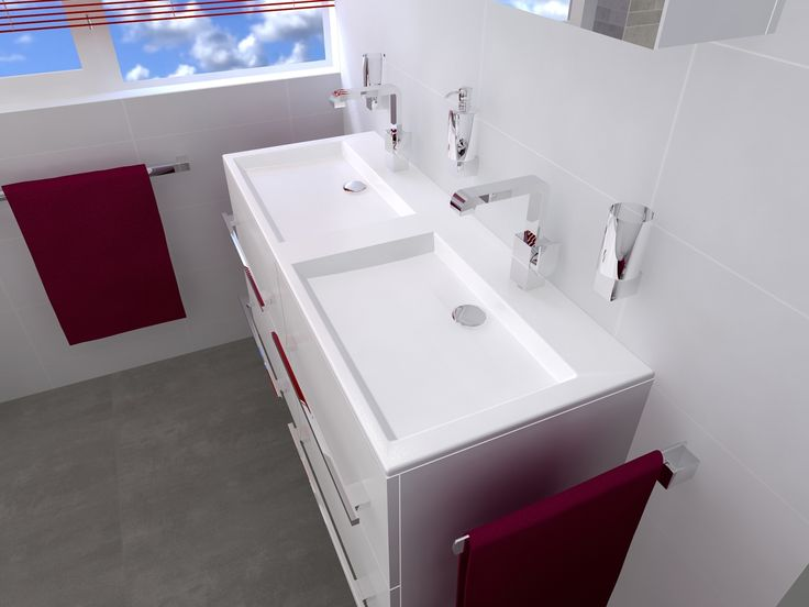 Badkamermeubel met strakke dubbele wastafel badkamers for Badkamermeubel desco