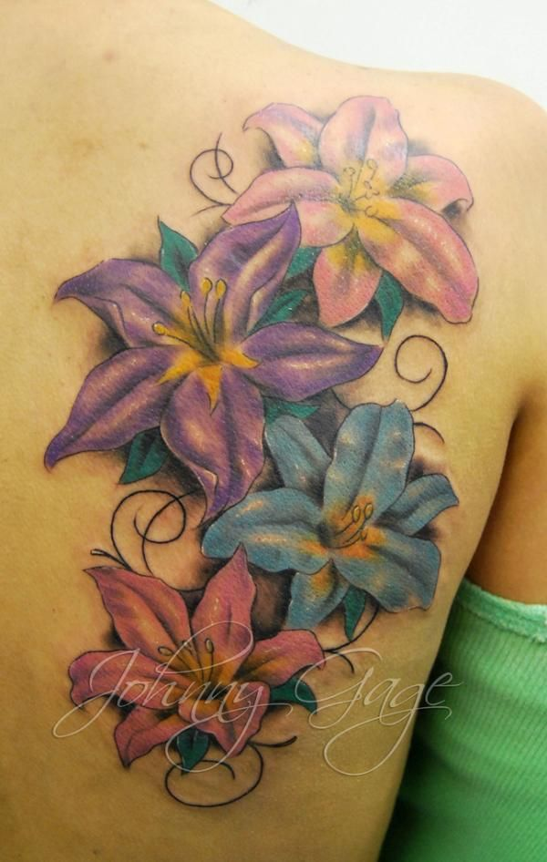 lilys and flourishes tattoo on shoulder - 30 Awesome Lily Tattoo Designs  <3 !