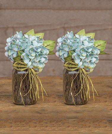 Love this Blue Artificial Hydrangea Glass Jar Arrangement - Set of Two on #zulily! #zulilyfinds