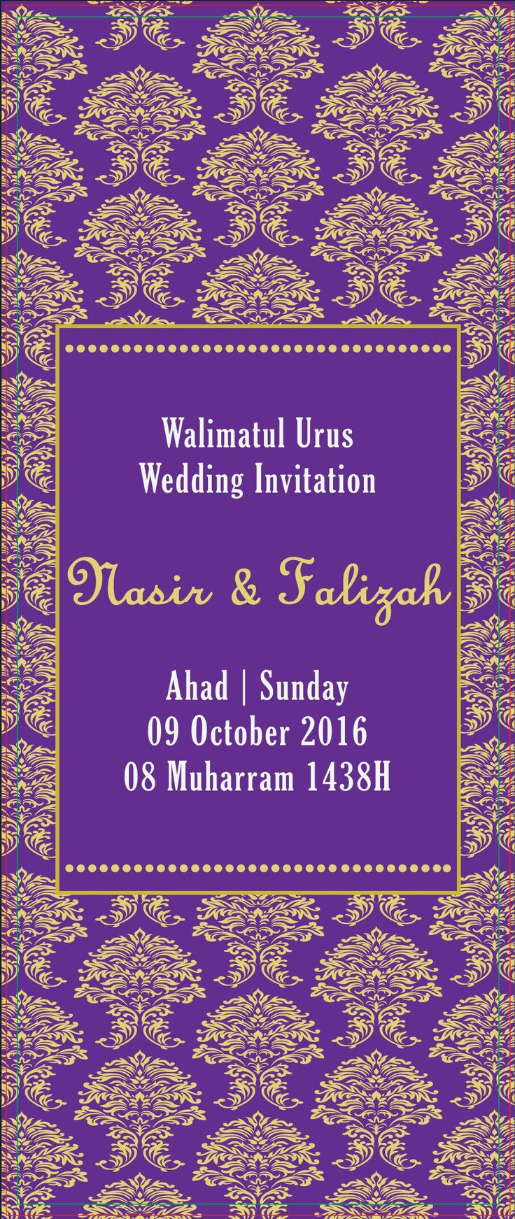 my wedding invitation by forever printz (fb) gold + purple theme