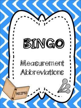 measurement abbreviations bingo math classroom. Black Bedroom Furniture Sets. Home Design Ideas