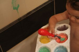 Have Fun in the Tub… with some homemade paints and a paintbrush ( fingers work too)