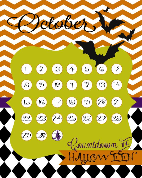 free printable countdown to halloween calendar - Halloween Decorations Printable