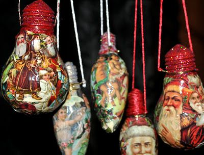 DIY Tutorial - Decoupaged Light Bulb Christmas Ornaments - (You could use Christmas Wrapping Paper For the Santa Images.) #recycle