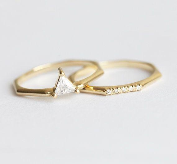 Anello di nozze moderno Set trilioni di diamanti di MinimalVS
