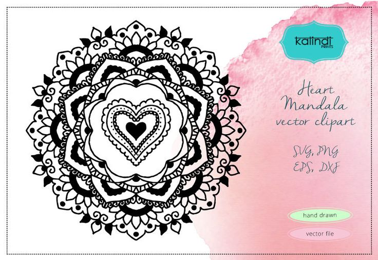 Download Heart Mandala svg, Love vector clipart, Valentine mandala ...