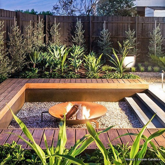 Salty air and sandy wind are tough elements to deal with in coastal locations. The selection of building materials to ensure longevity and prevent damage in years to come is of utmost importance. This sunken fire pit from Melbourne, Victoria, is perfect for withstanding the test of time (and spending warm nights with cold bevvies!)
