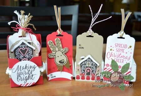 Mini File Box for handmade tags using Stampin' Up! Cookie Cutter Christmas and Candy Cane Lane suite