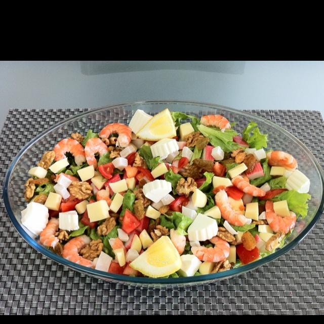 Salada exótica de camarão!