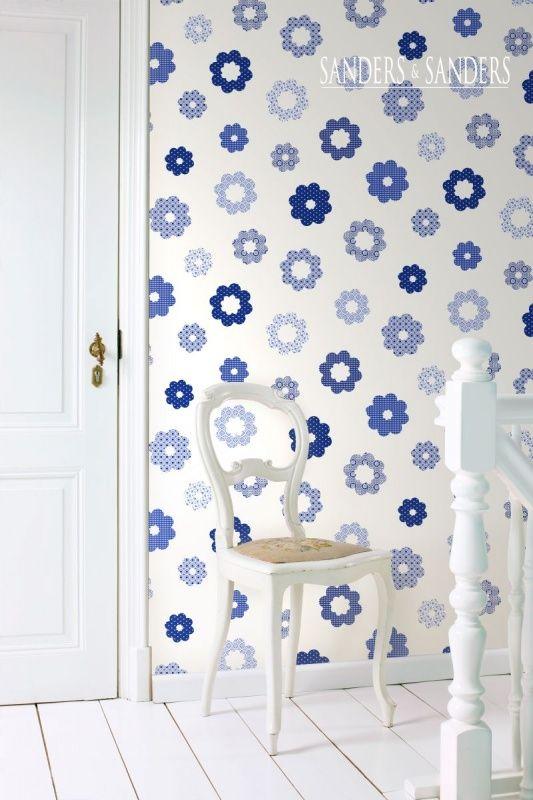 Sanders & Sanders Trends & More behang 935228 | Blauw behang | www.behangwereld.nl