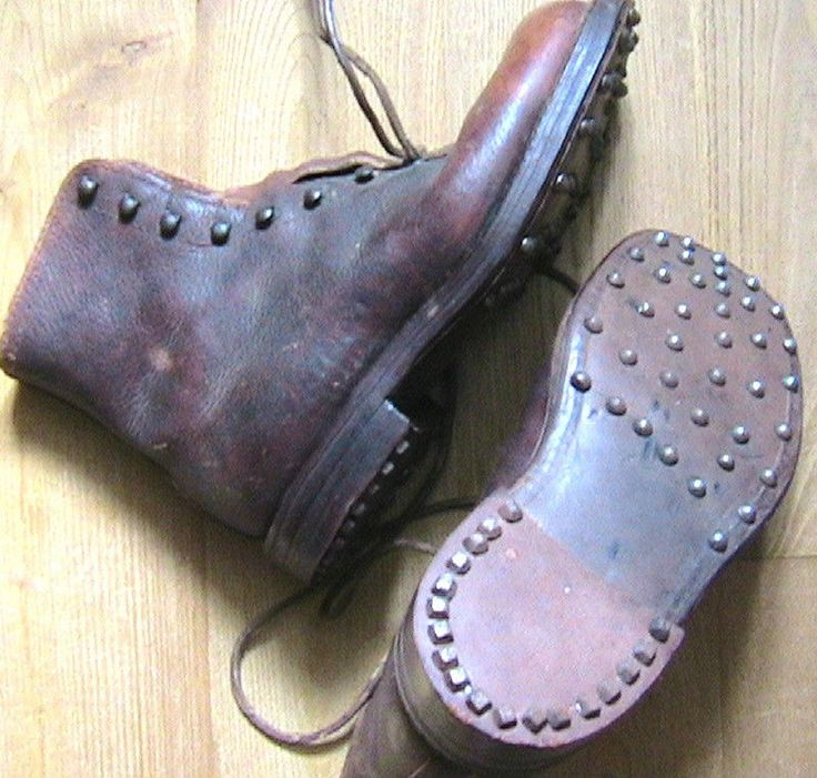 FRENCH 1940s <b>MEN</b> WORKWEAR BRODEQUINS BOOTS - <b>STEEL</b> ...
