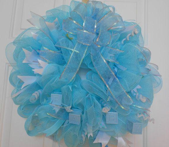 Its a boy wreath deco mesh baby wreath boy deco by TuTuSweetDiva