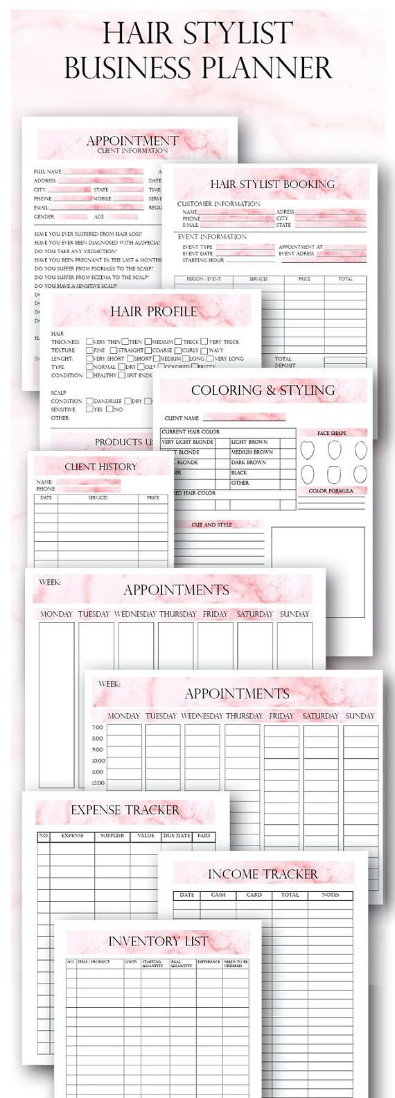 Pink Hair Stylist Printable Business Forms, Hair Stylist Client Form, Appointments, Client Hair Profile, Hair Stylist Booking Form WHATS INCLUDED: ► Appointments ► Client History Cards ► Coloring and Styling Sheet ► Hair Profile Page ► Hair Stylist Booking Form for events ► Hair Extensions Waiver Form ► Income Tracker ► Expense Tracker ► Inventory List ► Services List - editable FORMAT: ►The files are in PDF, they come in a ZIP. SIZES: ► Pages: US Letter (8.5 x 11 in) ► Card designs: Half...