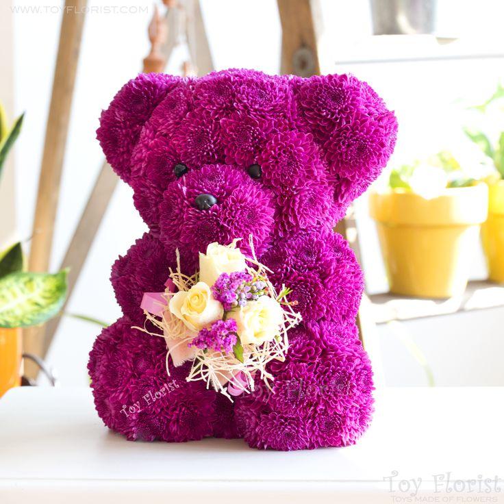Purple bear flower toy