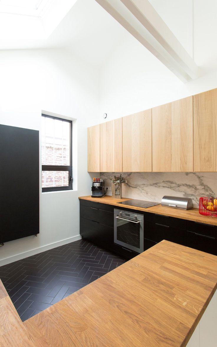 cuisine marbre bois blanc noir