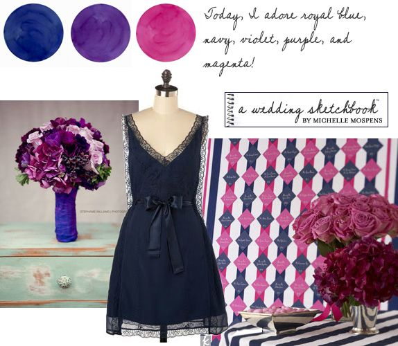 like the colors and flowers  new-navy-pink-purple-wedding