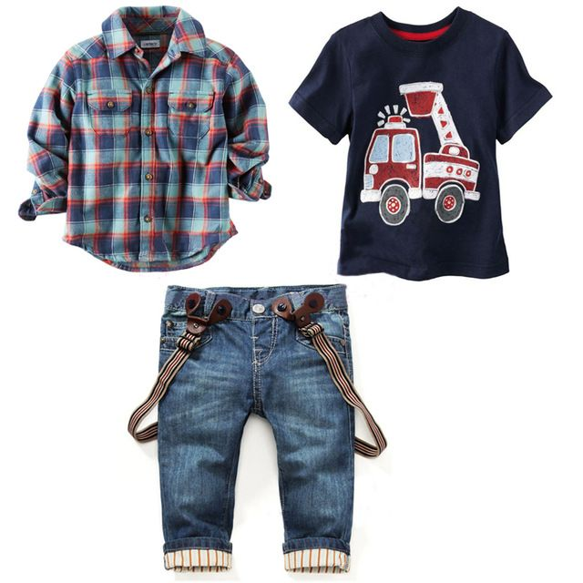 chemises à carreaux + t - shirt + jeans 3 pcs