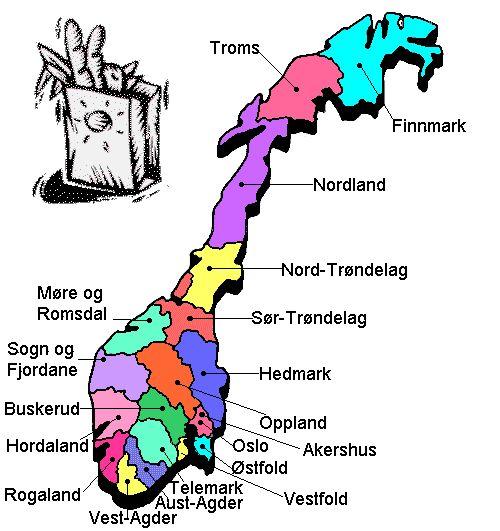 Norges Fylker Kart Picture