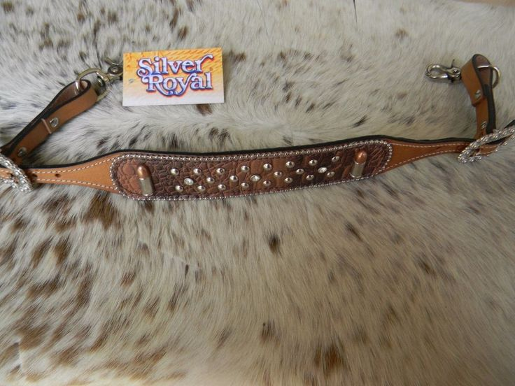 Gator Print Copper BULLETS Western Leather WITHER STRAP Breast Collar Horse Tack #SilverRoyal