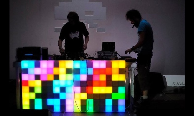 Note to self: check out PixelInvaders DIY Rainbow LED Panels Kit. Brilliant for a light up DJ booth. Looks very 8-bit, nerd city, therefore I LOVE.