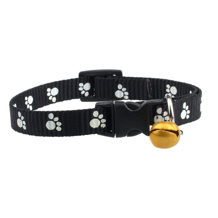 Lovely Pets hot selling Adjustable Nylon Footprints Collar Dog Puppy Pet Collars With Bells Jun10