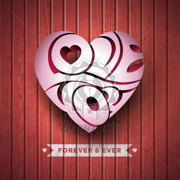 Vector Valentines Day illustration with 3d Love You typography design on wood texture background. - Royalty Free Vector Illustration