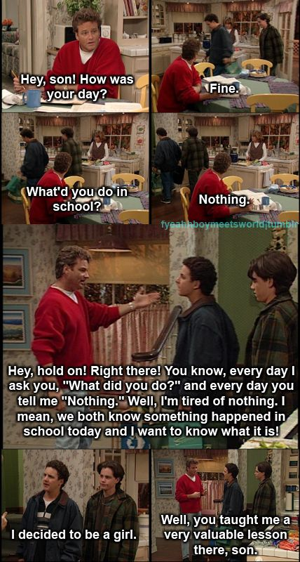 Why you should never ask to many questions... love boy meets world