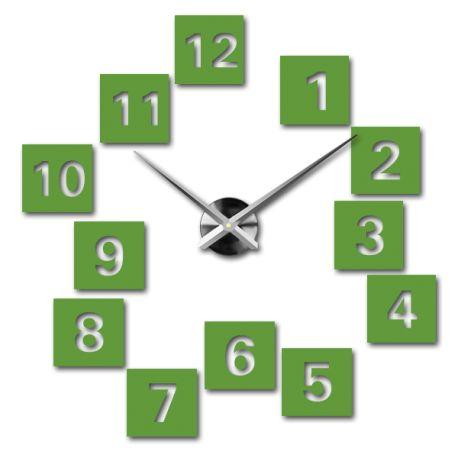 3D nástěnné nalepovací hodiny - TASHA Kód:  12S019-RAL6018-S-COLOR** Stav:  Nový produkt  Dostupnost:  Skladem  Vyber si barvu podle sebe! Přišel čas zútulnit si své bydlení novými hodinami. Velké nástěnné 3D hodiny jsou krásnou dekorací Vašeho interiéru. Už nikdy nebudete opozdí.