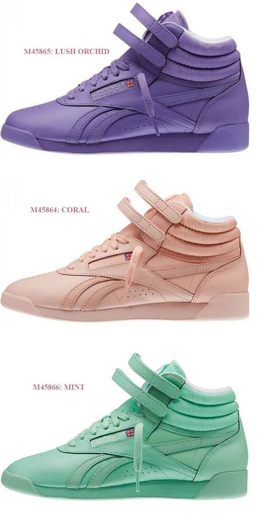 REEBOK FREESTYLE HI SPIRIT LUSH ORCHID CORAL MINT ACTIVE LIFESTYLE SHOES WOMEN #Reebok #ActiveLifestyle