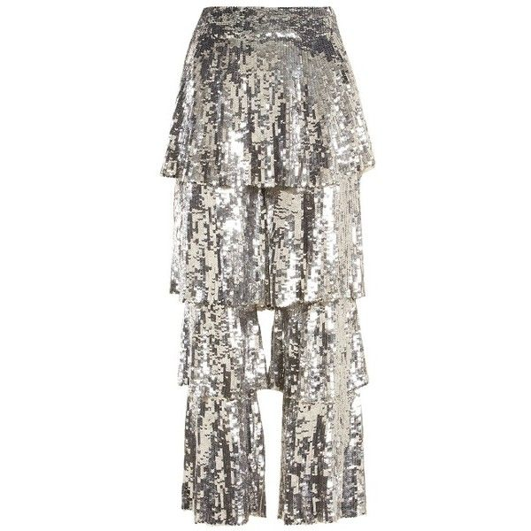 Osman Felix sequin-embellished cropped trousers ($1,878) ❤ liked on Polyvore featuring pants, capris, silver, cocktail pants, white crop pants, embellished pants, tailored trousers and cropped pants