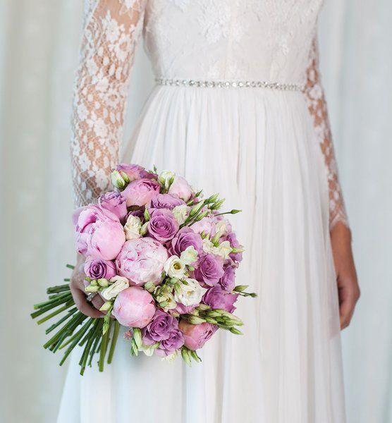 Vintage brudebukett med rosa peoner