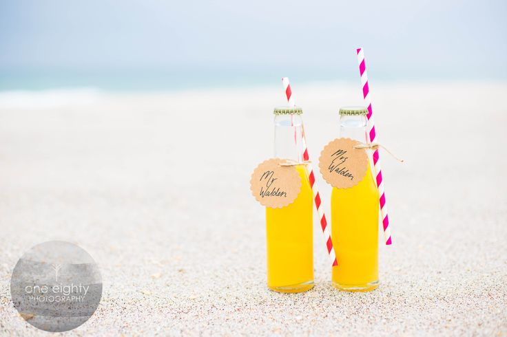 Its all in the details!  Soda pop bottles for this beach wedding!   www.facebook.com/oneeightyphotography