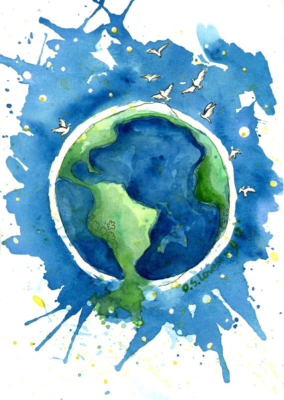 Planet Peace watercolor painting original  6 x by BlueWhaleStudio, $20.00