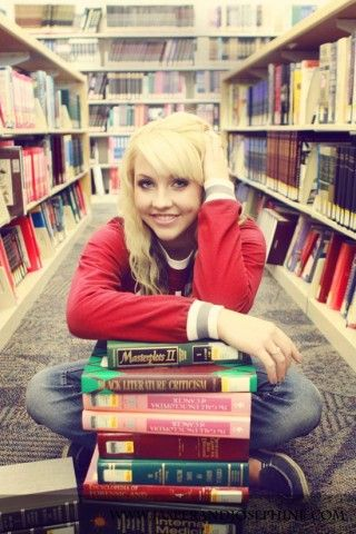 Fashion Ideas for Portraits- i love the idea of putting your favorite books together for a picture (Senior photo???)