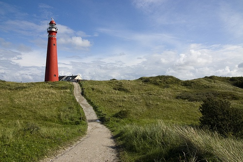 red lighthouse on Schiermonnikoog island - Friesland, The Netherlands