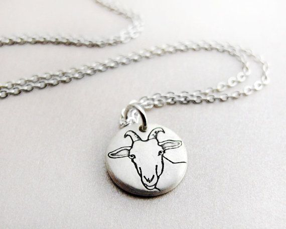 Tiny  dairy goat necklace  silver  Capricorn by lulubugjewelry, $30.00