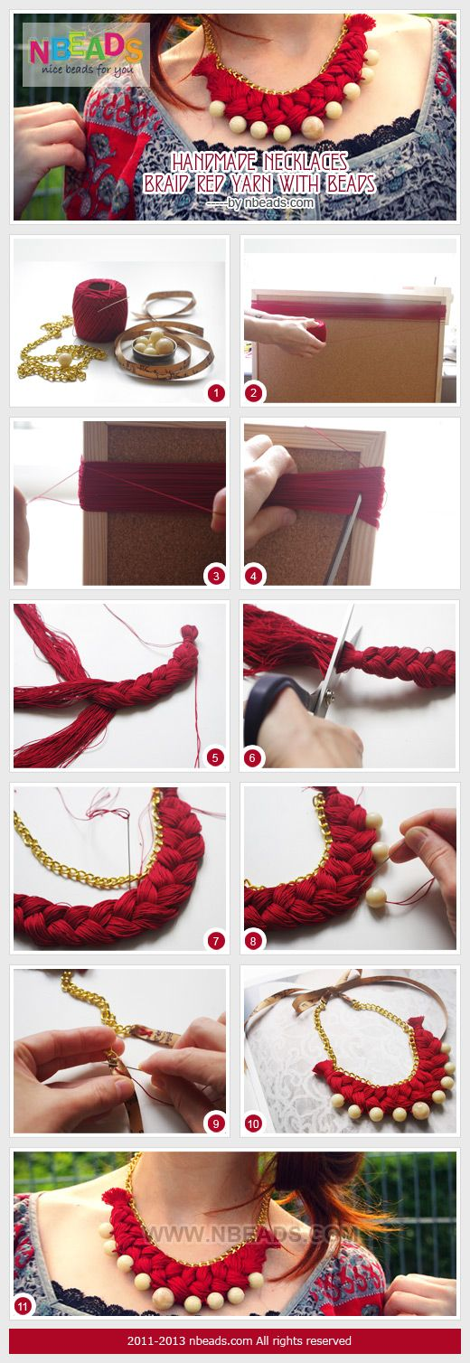 Summary: Is there any surplus yarn in your home? If the answer is yes, it's perfect for you to make jewelry craft below. The fabulous handmade necklaces are made of yarn and beads. And satin ribbon is used to secure your necklace at each end of a chain. W #diy