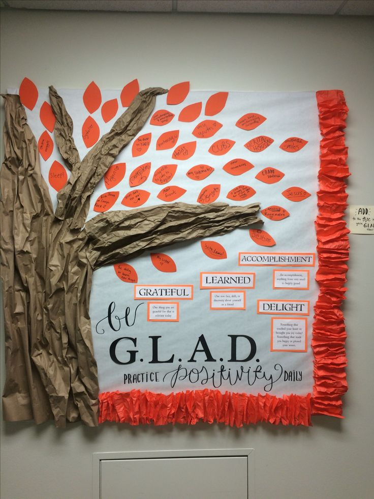 Be G.L.A.D. Thanksgiving college residence hall bulletin board #sicembears