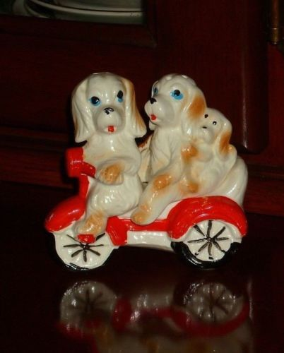 Vintage Ceramic Salt & Pepper Shakers Dogs Riding Scooter Bike Japan