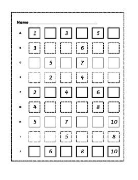 Number grids with missing numbers for 1-20, 1-30, 1-50, 1-100, 101-200 ...