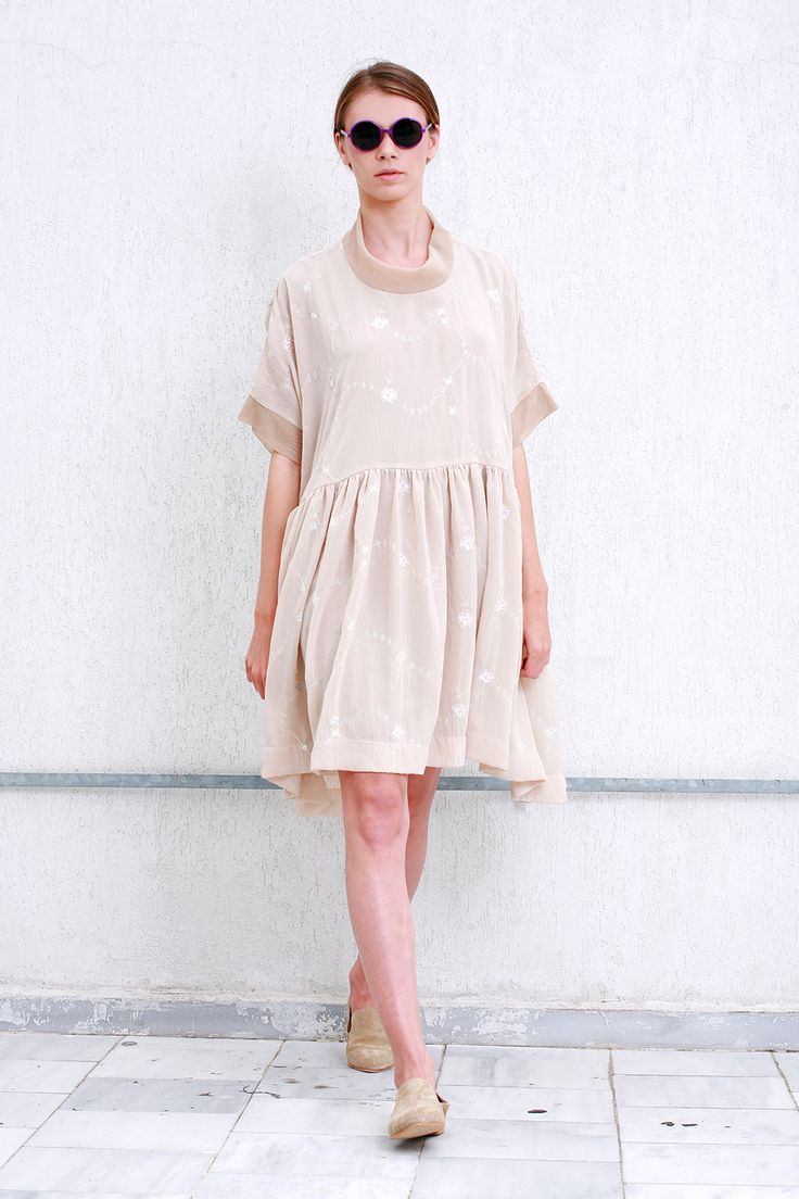 Oversized embroidered dress