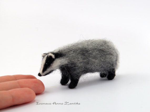 Felt badger, felt toy, natural wool toy,needle felted animal, tiny soft…