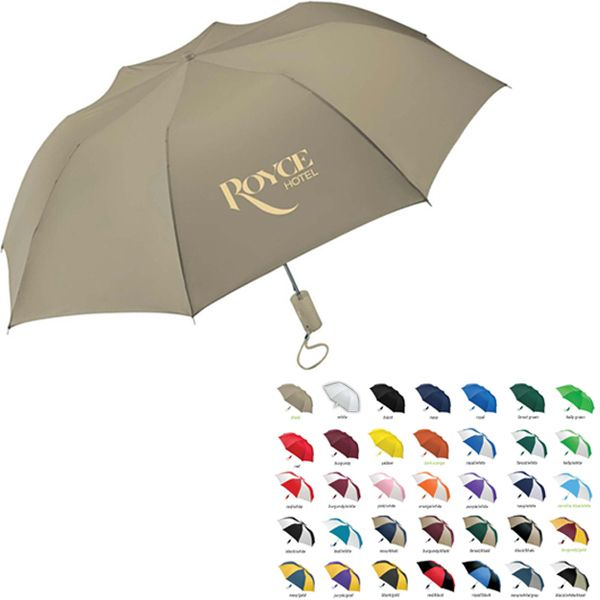 "When you choose from the 32 color options and add your custom imprint you're sure to garner attention.  As an auto-open, folding umbrella there's the added convenience of portability. 15"" when folded. Features a metal shaft, plastic handle and carrying strap. A 44"" arc makes this product ideal for students, teachers and employees.  Perfect for business executives and frequent travelers. FREE SHIPPING until 12-31-15"