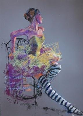 Ballet Dancer with Striped Socks | Pastel by Kristina Laurendi Havens