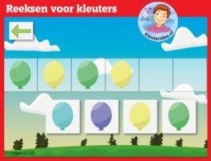 Reeksen leggen met kleuters, rekenen met digibord of computer  op kleuteridee.nl, Kindergarten math for IWB or computer