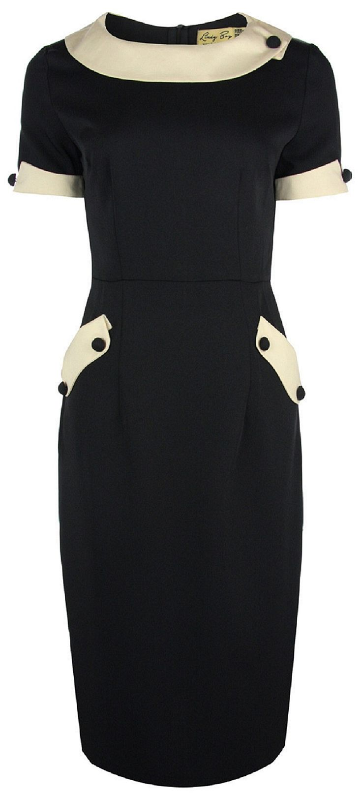 Lindy Bop 'Petite' 'Tiffany' Vintage 50s Black Office Style Wiggle Dress (XXS, Black)