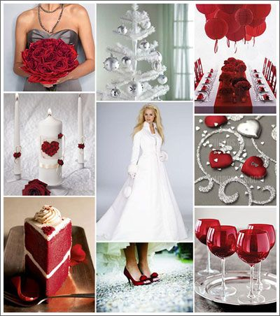 If you stick with the red/charcoal colors...red velvet cake would be really pretty, and you could have red wine/champagne glasses at the head table