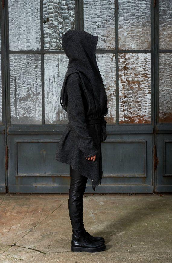 Manteau dhiver manteau à capuchon gris Sweat par IllummineeFashion